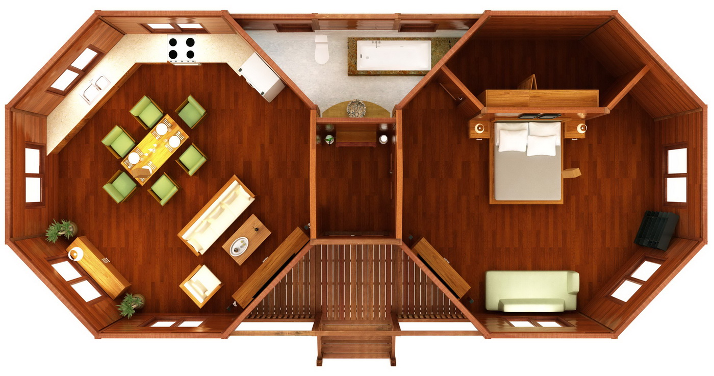 Octagonal floor plans 10 teak bali for Octagon house floor plans
